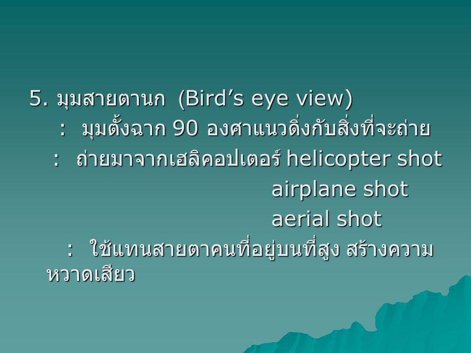 5. มุมสายตานก (Bird's eye view)