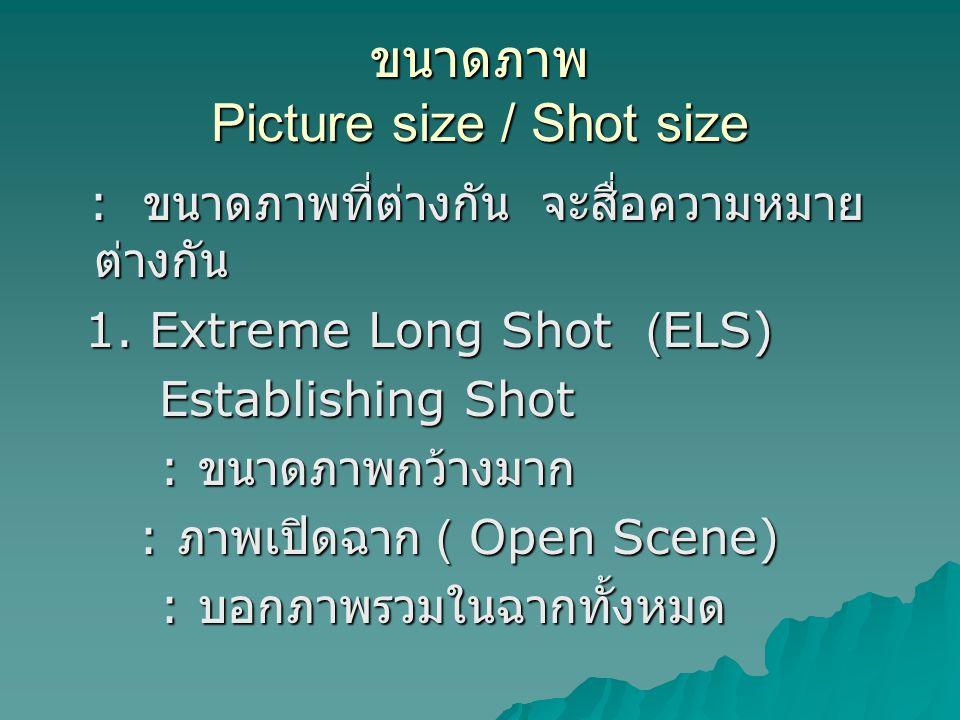 ขนาดภาพ Picture size / Shot size