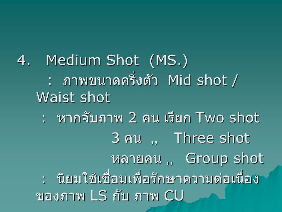 4. Medium Shot (MS.) : ภาพขนาดครึ่งตัว Mid shot / Waist shot. : หากจับภาพ 2 คน เรียก Two shot.