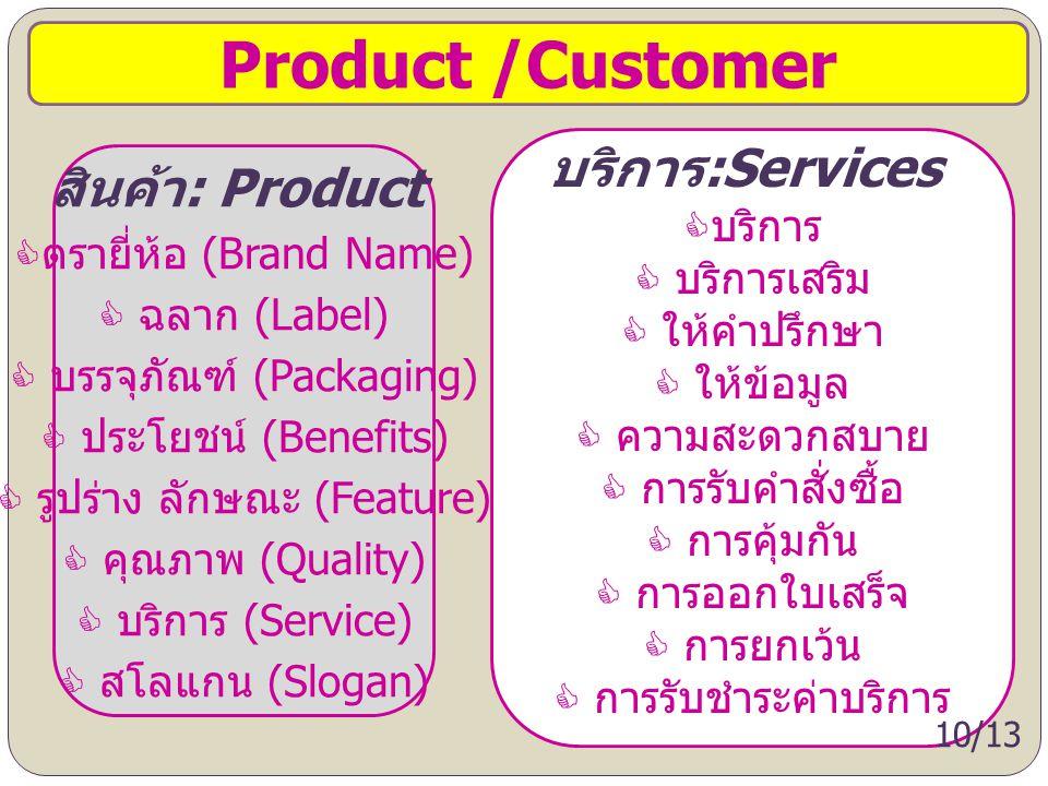 Product /Customer บริการ:Services สินค้า: Product บริการ บริการเสริม