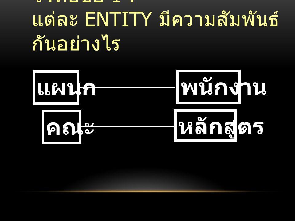 โจทย์ข้อ 1 : แต่ละ Entity มีความสัมพันธ์กันอย่างไร