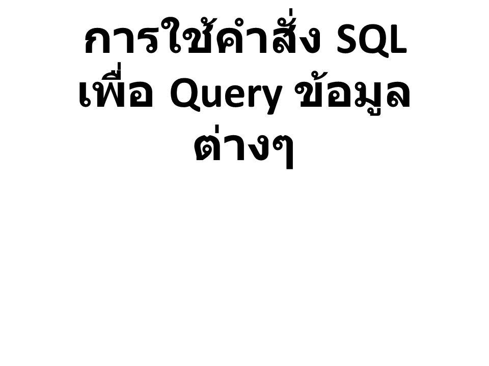 การใช้คำสั่ง SQL เพื่อ Query ข้อมูลต่างๆ