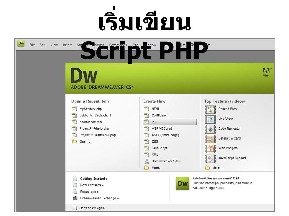 เริ่มเขียน Script PHP