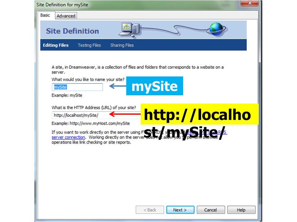 mySite http://localhost/mySite/