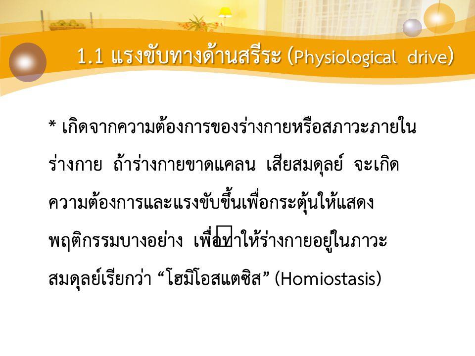 1.1 แรงขับทางด้านสรีระ (Physiological drive)