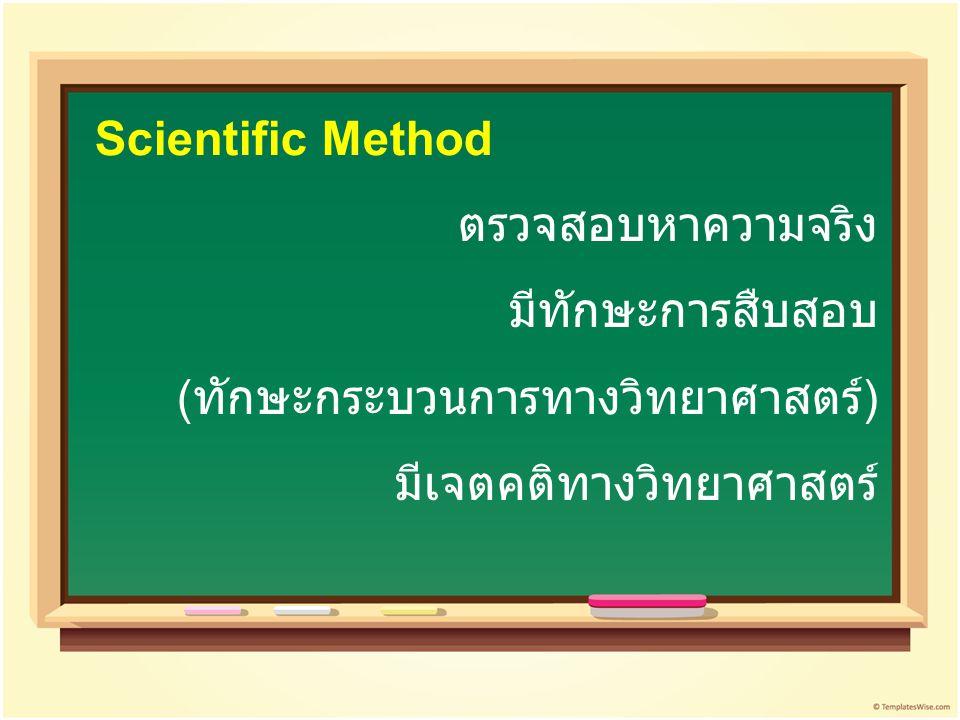 ตรวจสอบหาความจริง มีทักษะการสืบสอบ (ทักษะกระบวนการทางวิทยาศาสตร์) มีเจตคติทางวิทยาศาสตร์