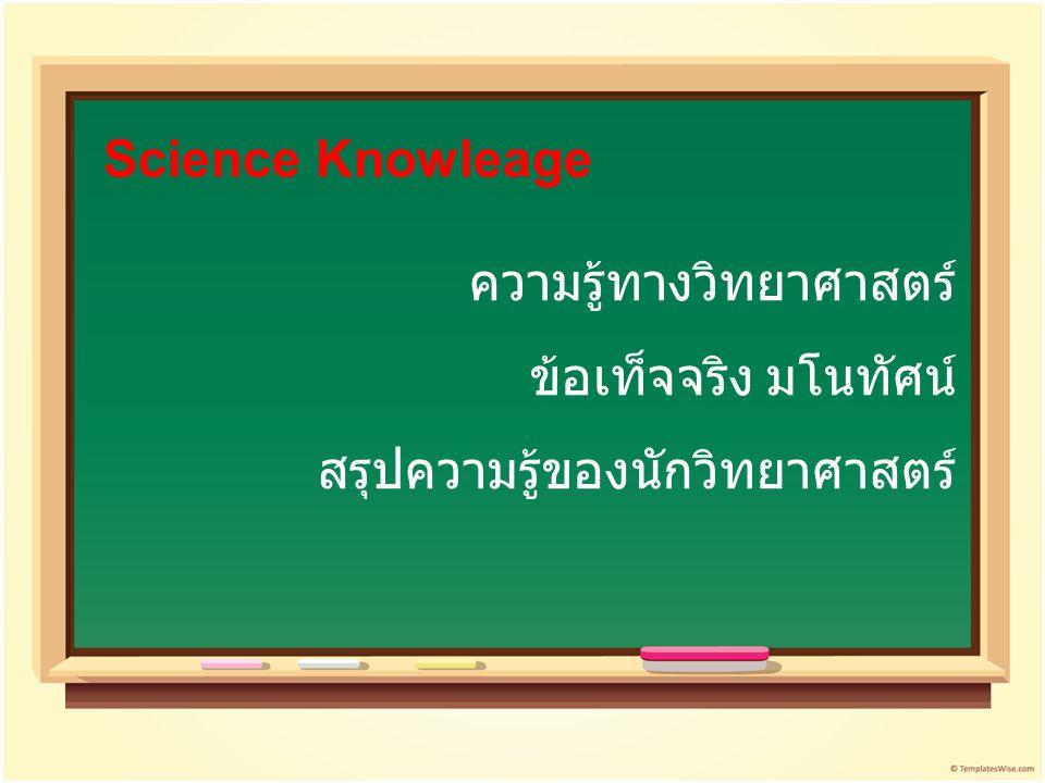 ความรู้ทางวิทยาศาสตร์ ข้อเท็จจริง มโนทัศน์ สรุปความรู้ของนักวิทยาศาสตร์