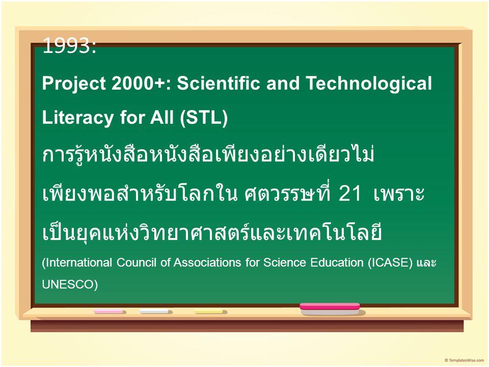 1993: Project 2000+: Scientific and Technological Literacy for All (STL) การรู้หนังสือหนังสือเพียงอย่างเดียวไม่เพียงพอสำหรับโลกใน ศตวรรษที่ 21 เพราะเป็นยุคแห่งวิทยาศาสตร์และเทคโนโลยี (International Council of Associations for Science Education (ICASE) และ UNESCO)