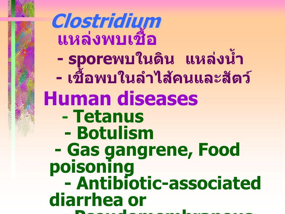 Clostridium - Botulism - Gas gangrene, Food poisoning
