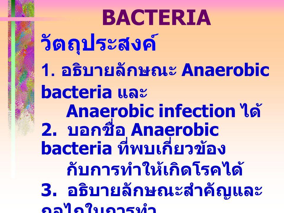 ANAEROBIC BACTERIA วัตถุประสงค์ 1. อธิบายลักษณะ Anaerobic bacteria และ