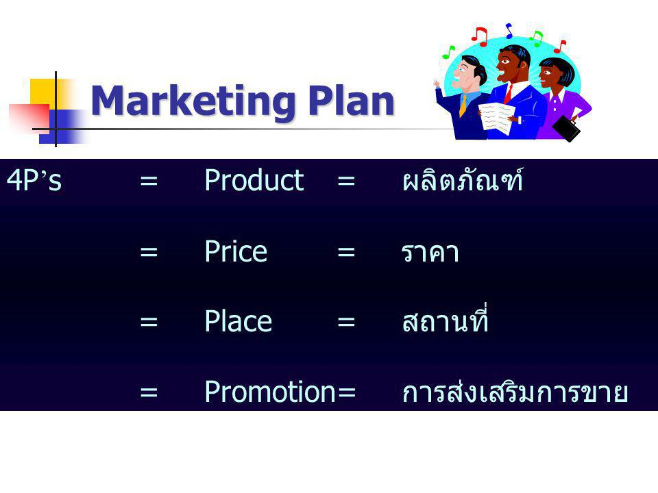 Marketing Plan 4P's = Product = ผลิตภัณฑ์ = Price = ราคา