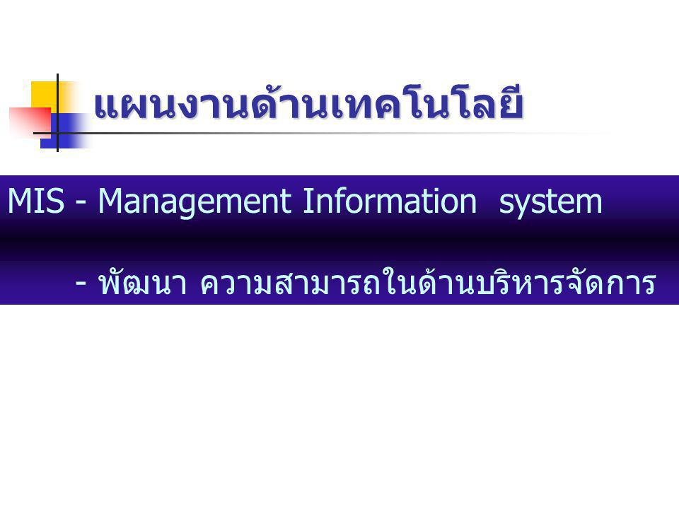 แผนงานด้านเทคโนโลยี MIS - Management Information system