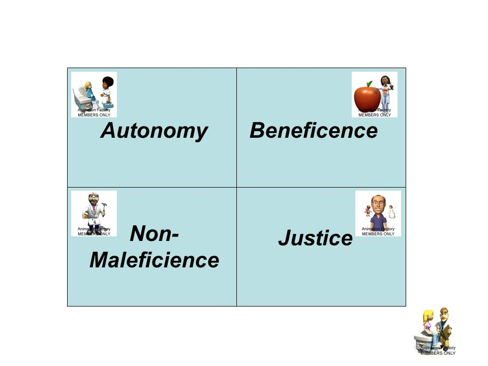 Autonomy Beneficence Non-Maleficience Justice