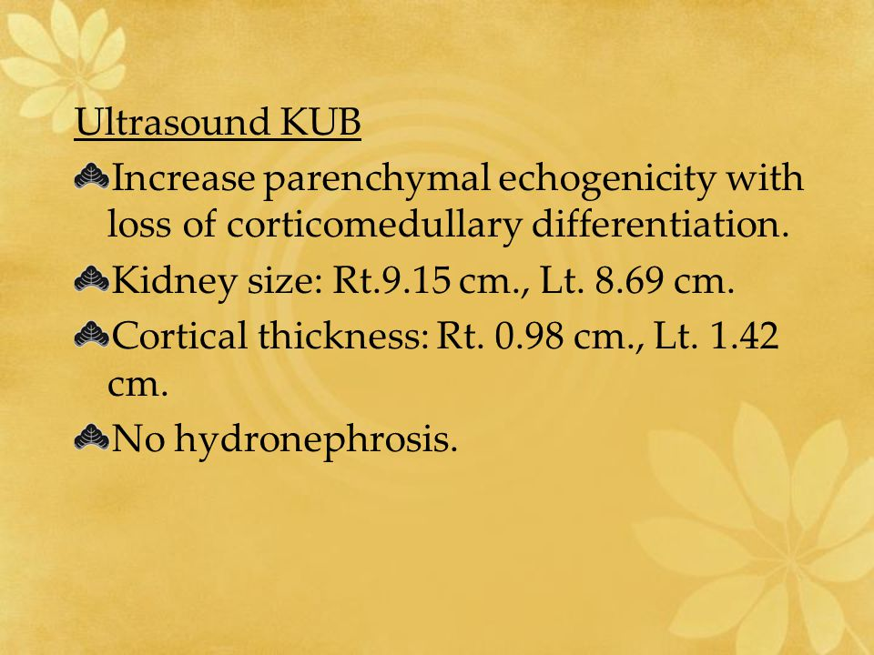 Ultrasound KUB Increase parenchymal echogenicity with loss of corticomedullary differentiation. Kidney size: Rt.9.15 cm., Lt. 8.69 cm.