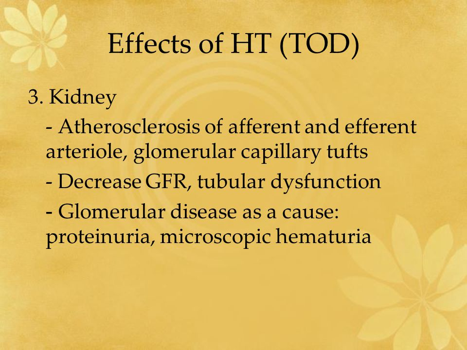 Effects of HT (TOD) 3. Kidney