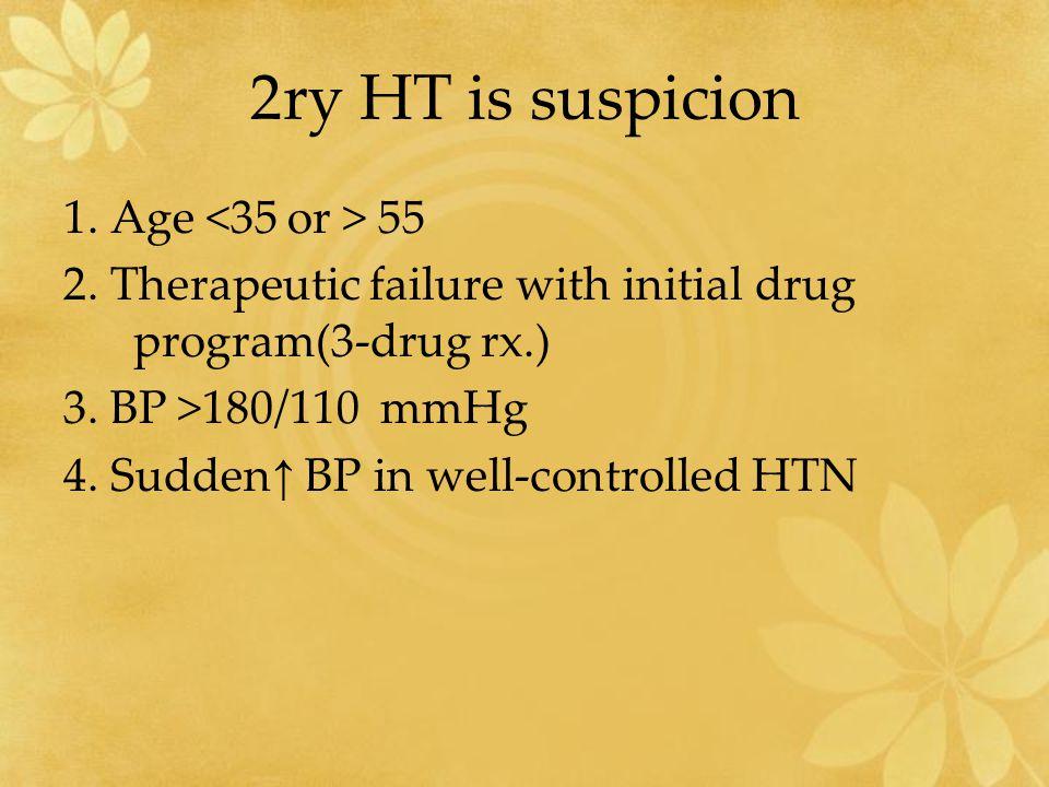 2ry HT is suspicion 1. Age <35 or > 55