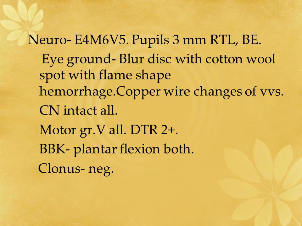 Neuro- E4M6V5. Pupils 3 mm RTL, BE.