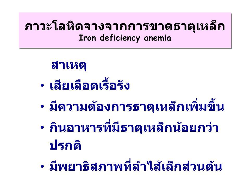 ภาวะโลหิตจางจากการขาดธาตุเหล็ก Iron deficiency anemia
