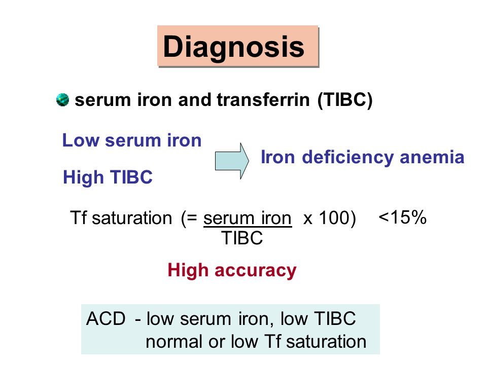 Diagnosis serum iron and transferrin (TIBC) Low serum iron