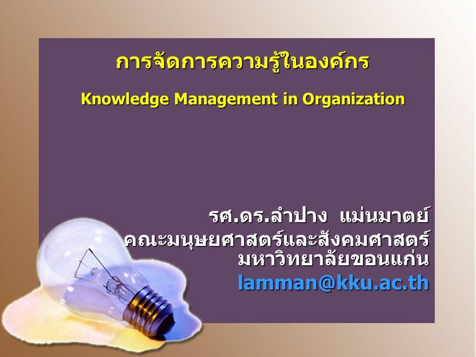 การจัดการความรู้ในองค์กร Knowledge Management in Organization