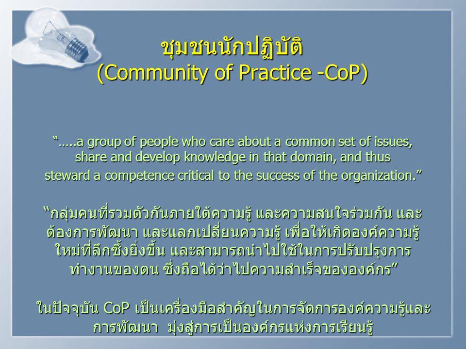 ชุมชนนักปฏิบัติ (Community of Practice -CoP)