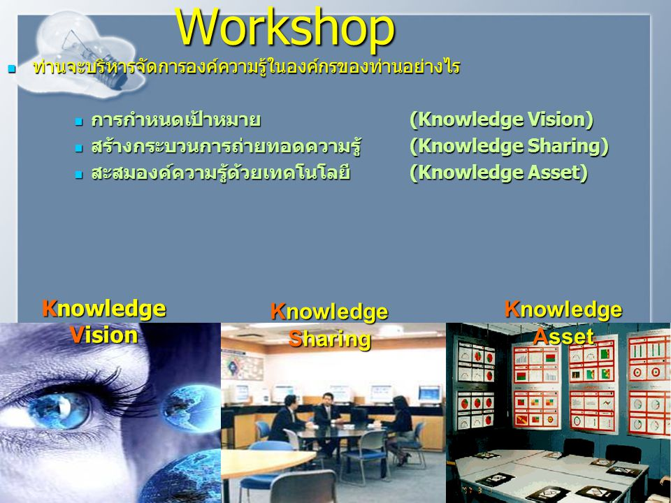 Workshop Knowledge Knowledge Knowledge Vision Asset Sharing