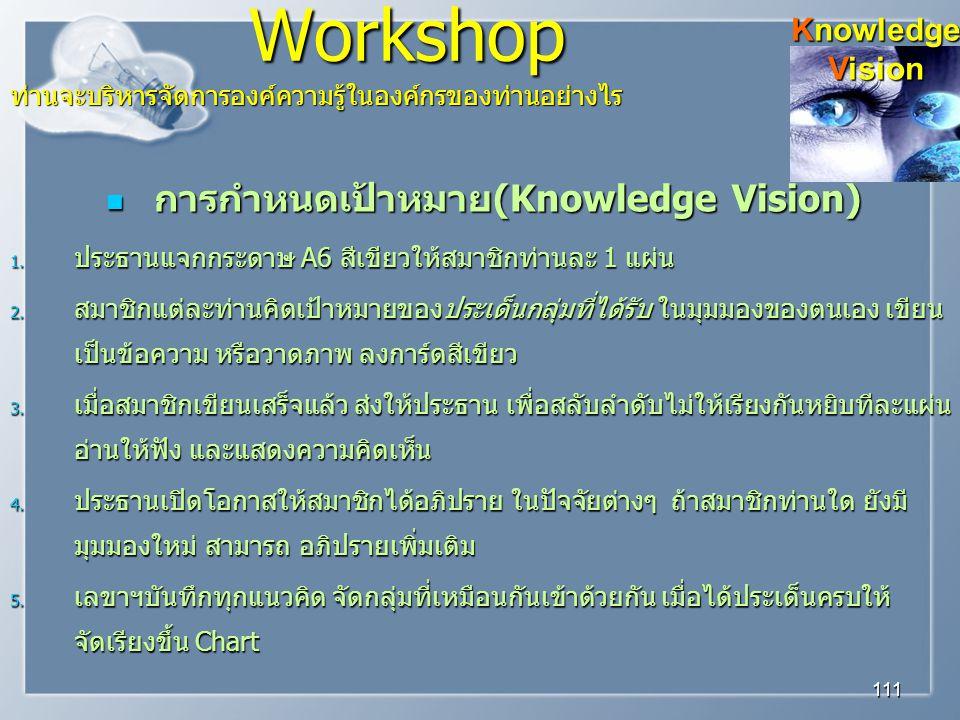 Workshop การกำหนดเป้าหมาย(Knowledge Vision) Knowledge Vision