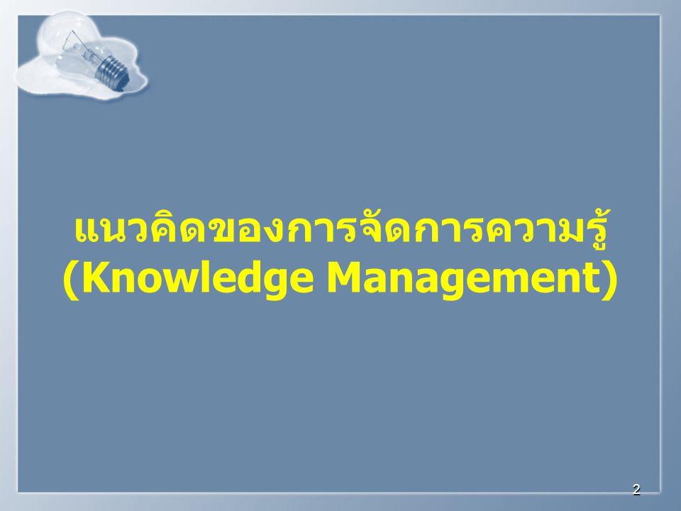 แนวคิดของการจัดการความรู้ (Knowledge Management)