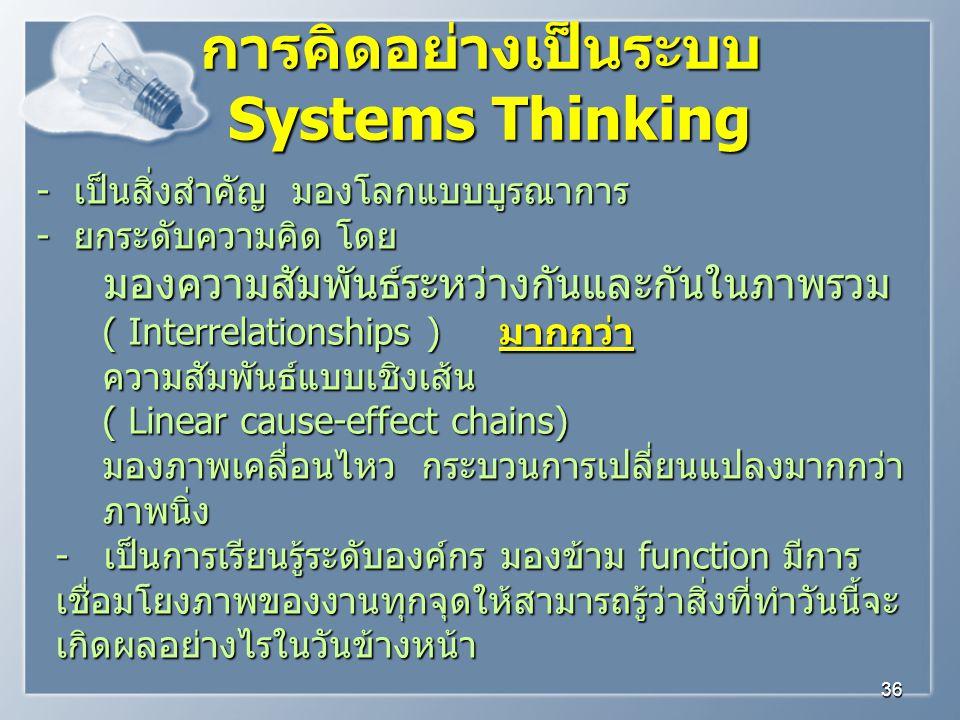 การคิดอย่างเป็นระบบ Systems Thinking