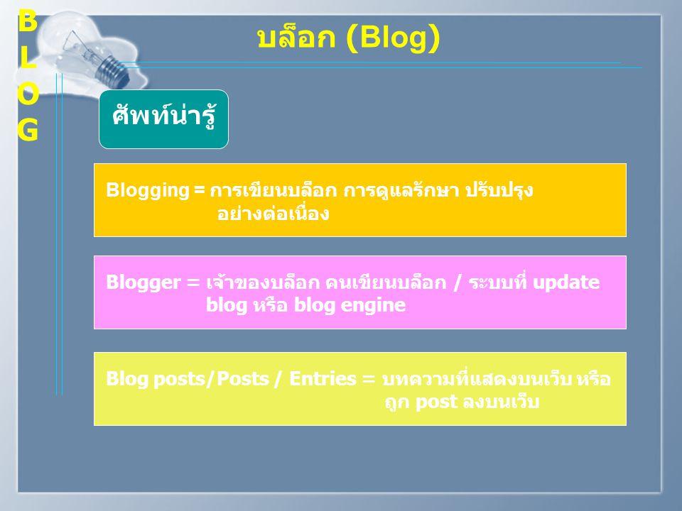 B L O G บล็อก (Blog) ศัพท์น่ารู้