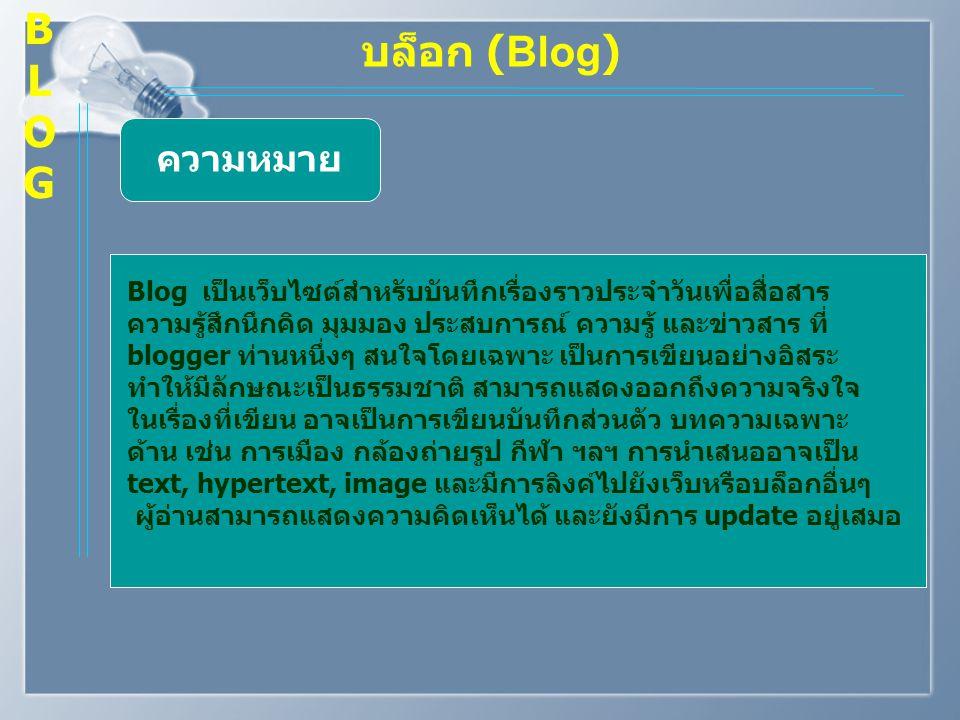 B L O G บล็อก (Blog) ความหมาย