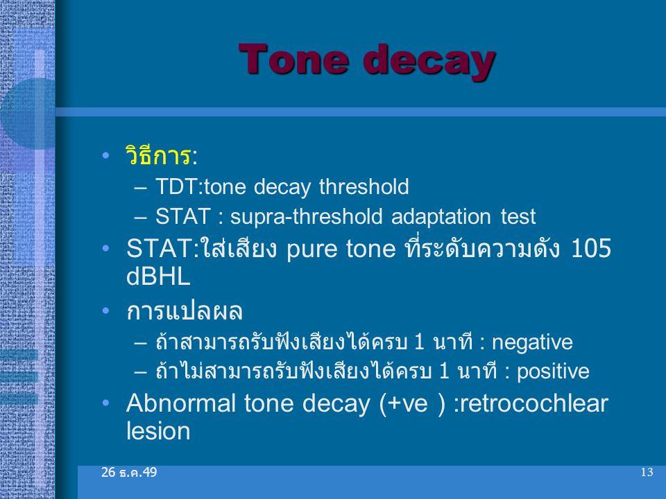 Tone decay วิธีการ: STAT:ใส่เสียง pure tone ที่ระดับความดัง 105 dBHL