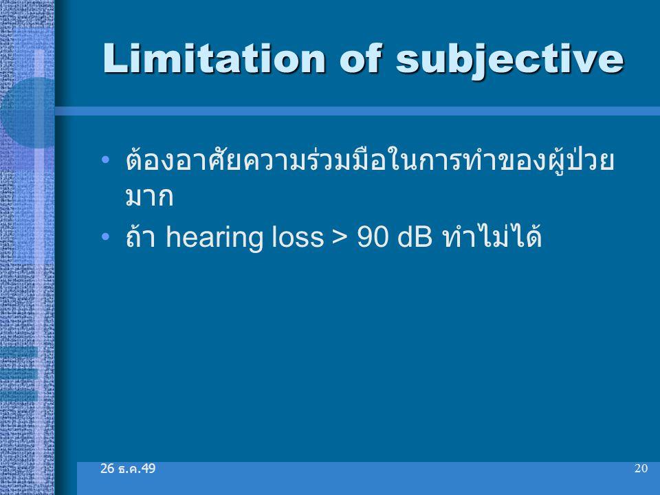 Limitation of subjective