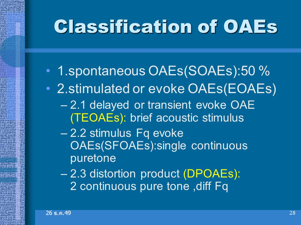 Classification of OAEs