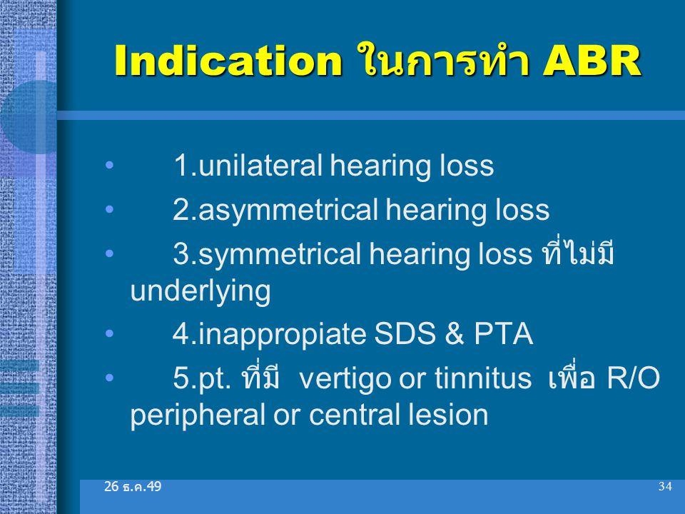 Indication ในการทำ ABR