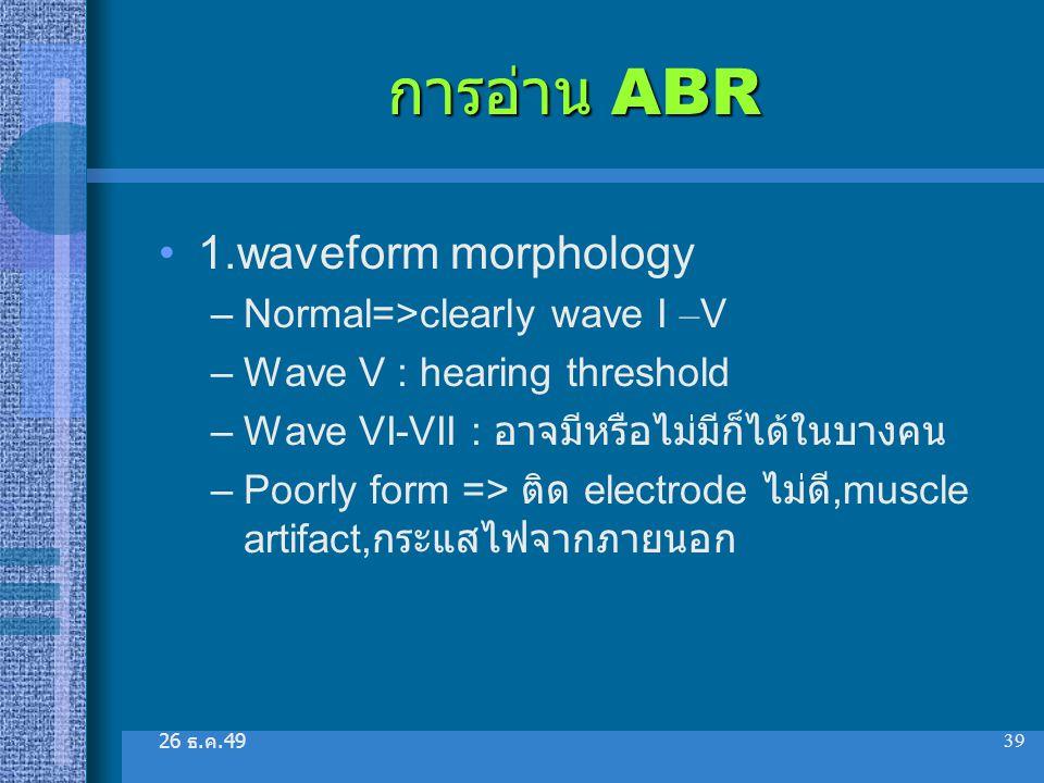 การอ่าน ABR 1.waveform morphology Normal=>clearly wave I –V
