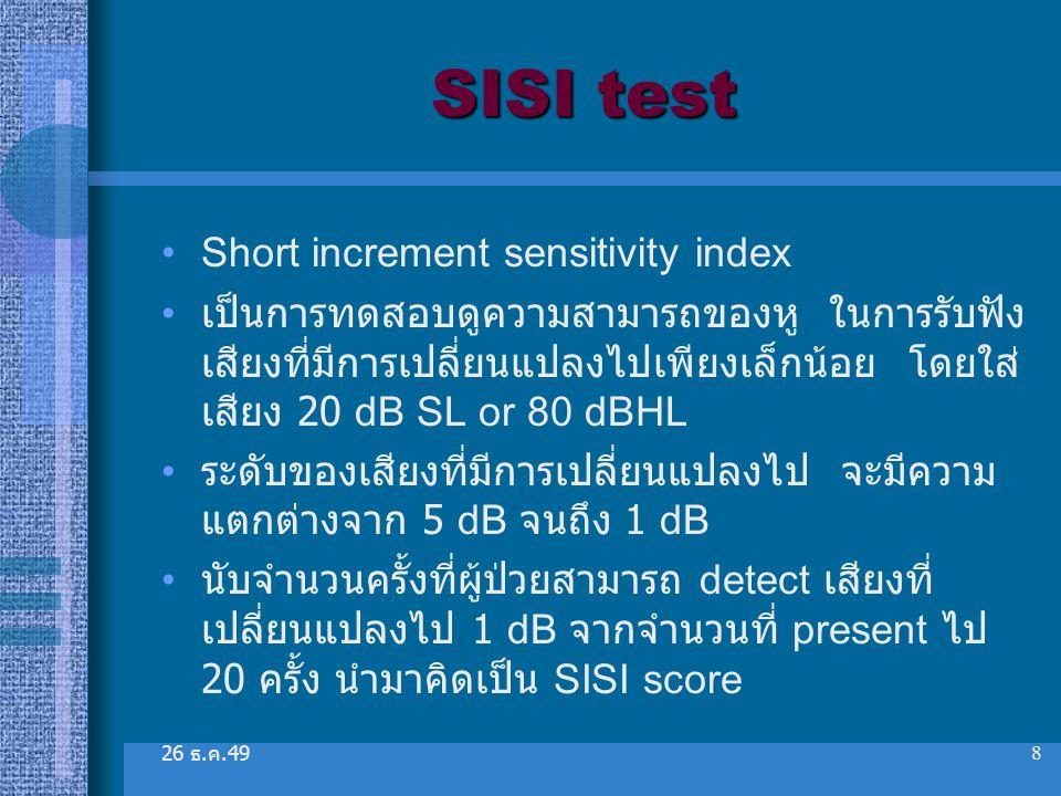 SISI test Short increment sensitivity index