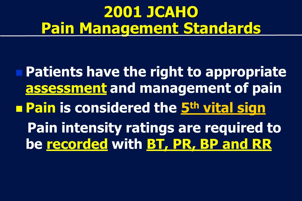 2001 JCAHO Pain Management Standards