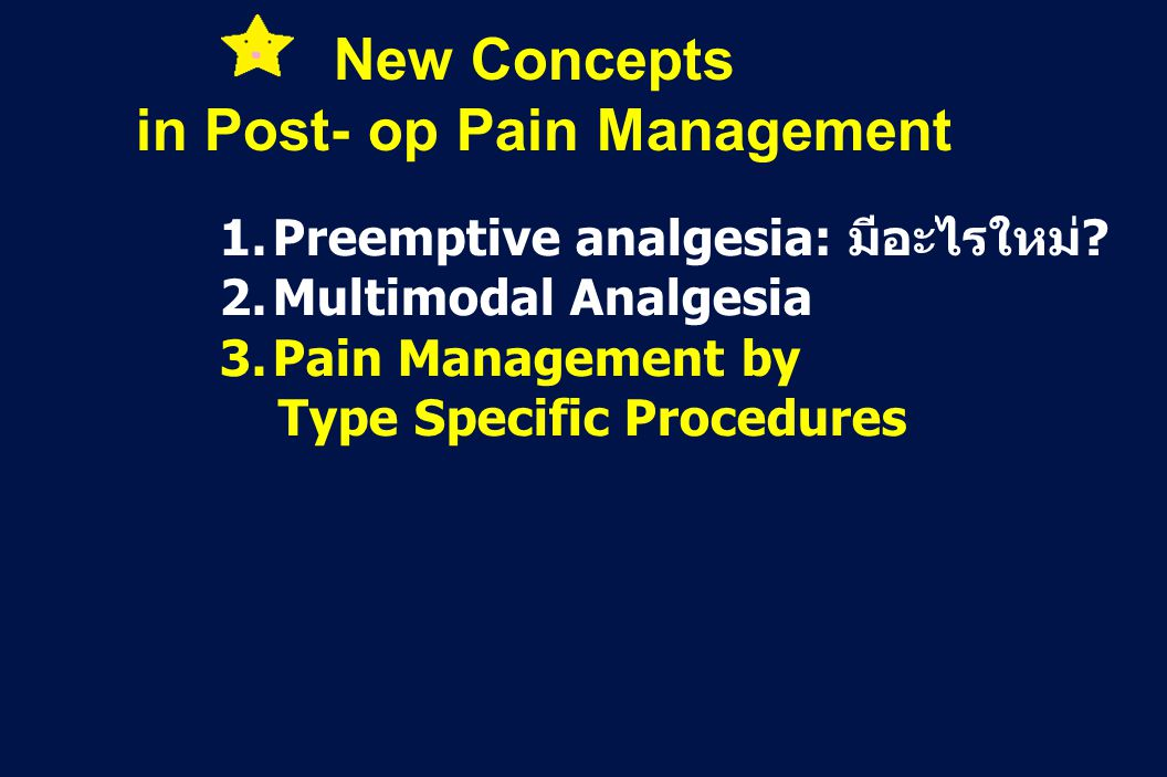 in Post- op Pain Management