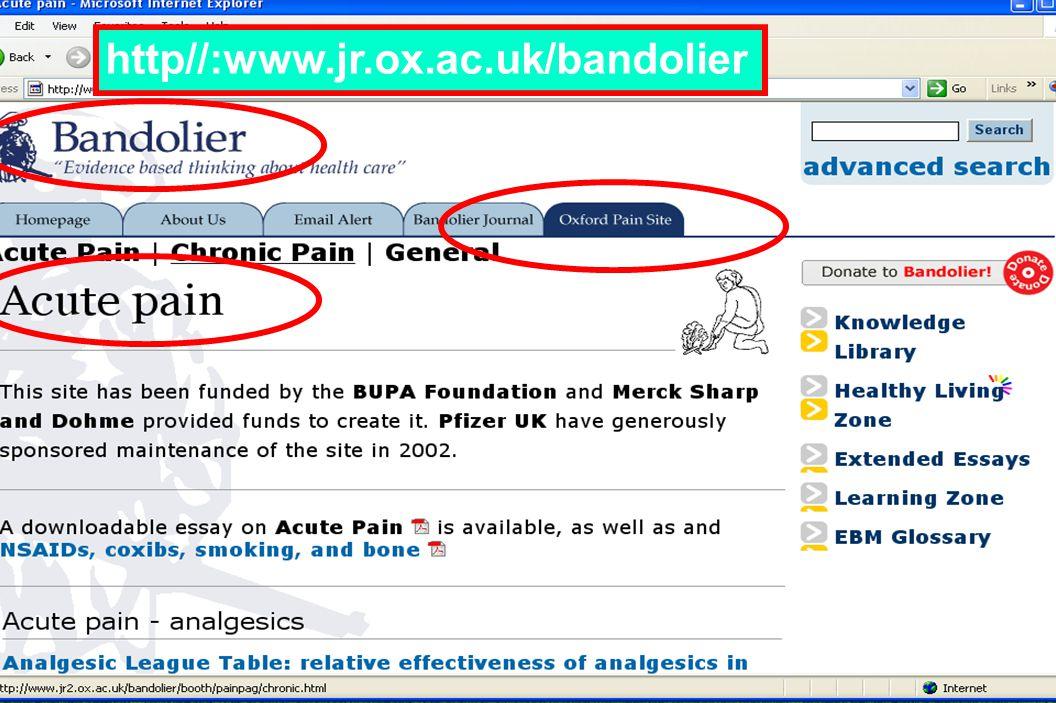 http//:www.jr.ox.ac.uk/bandolier Prof McQuay ได้อนุญาต ให้ใช้ ข้อมูลได้แล้ว