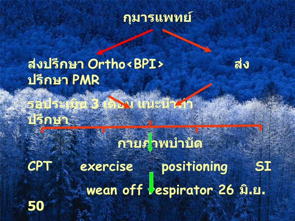 กุมารแพทย์ ส่งปรึกษา Ortho<BPI> ส่งปรึกษา PMR. รอประเมิน 3 เดือน แนะนำทำ ปรึกษา. กายภาพบำบัด.