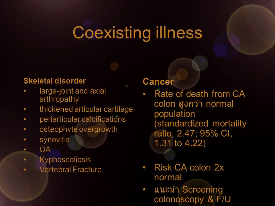 Coexisting illness Cancer