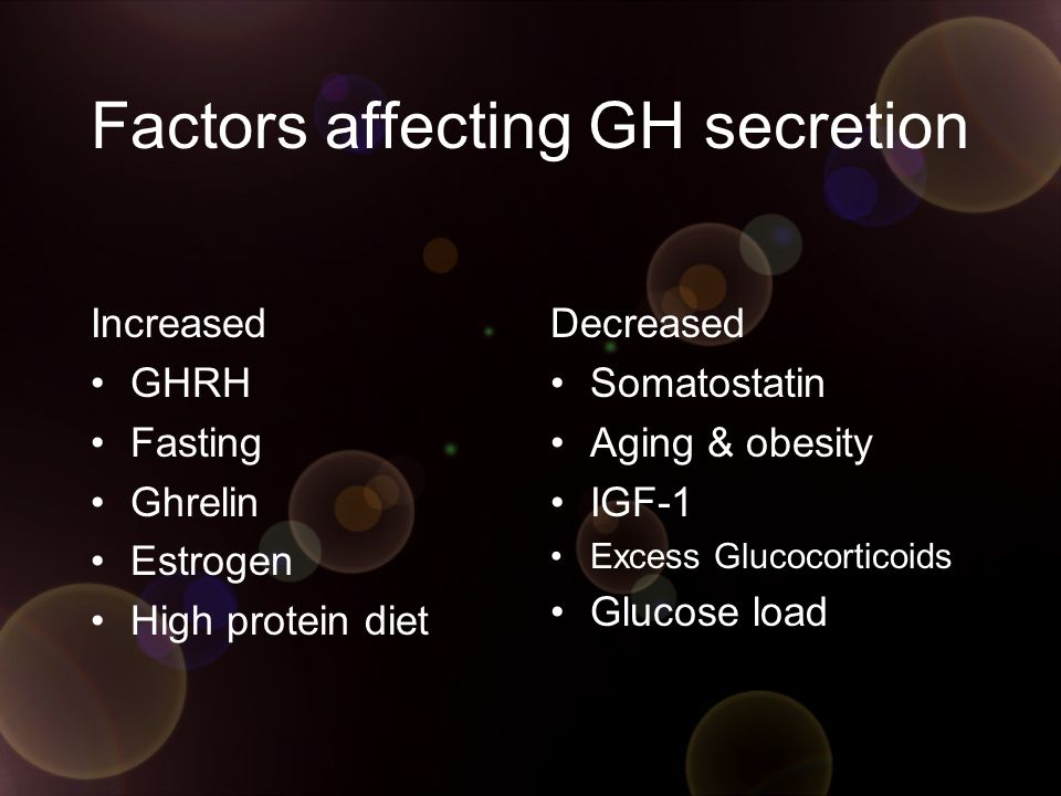Factors affecting GH secretion