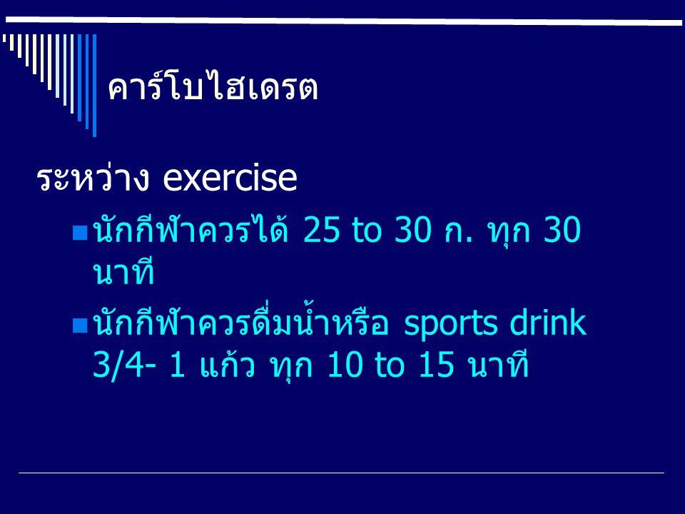 ระหว่าง exercise คาร์โบไฮเดรต นักกีฬาควรได้ 25 to 30 ก. ทุก 30 นาที
