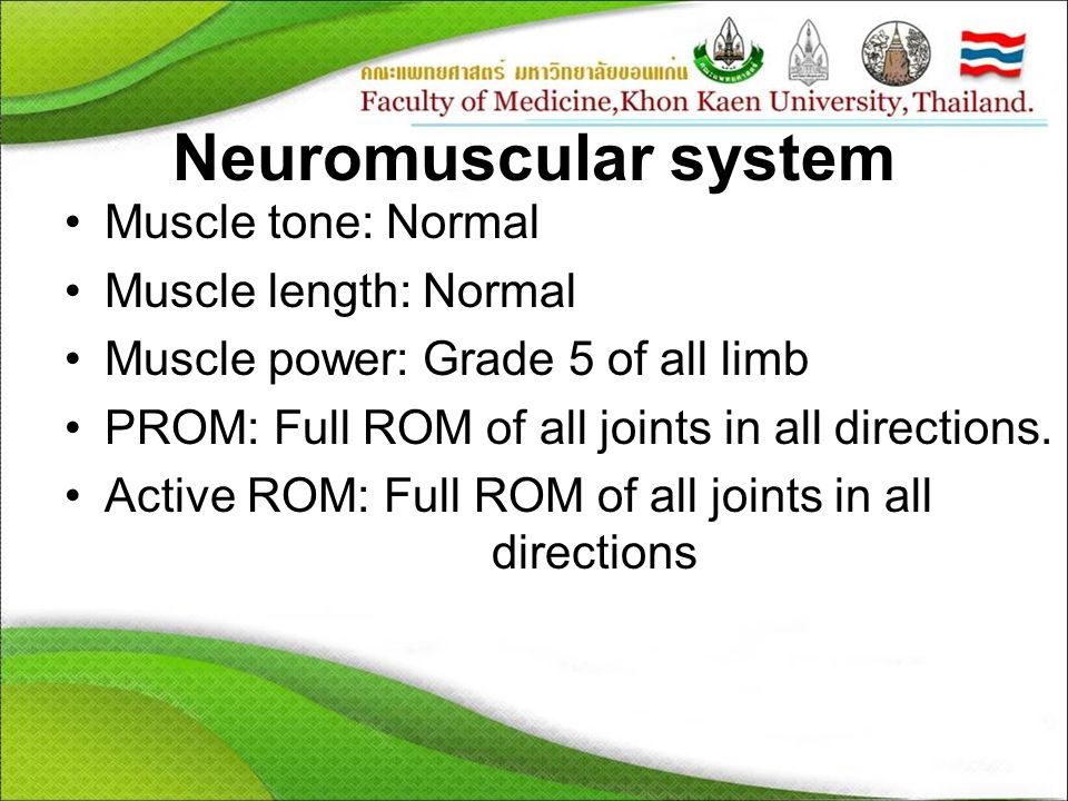 Neuromuscular system Muscle tone: Normal Muscle length: Normal