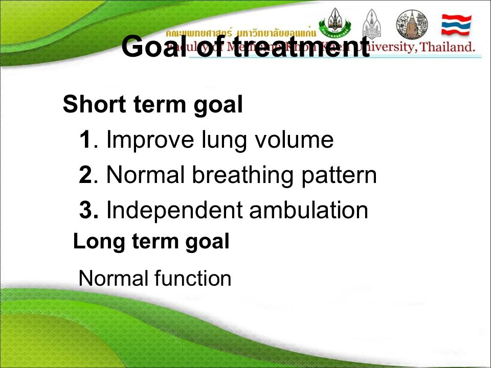 Goal of treatment Short term goal 1. Improve lung volume