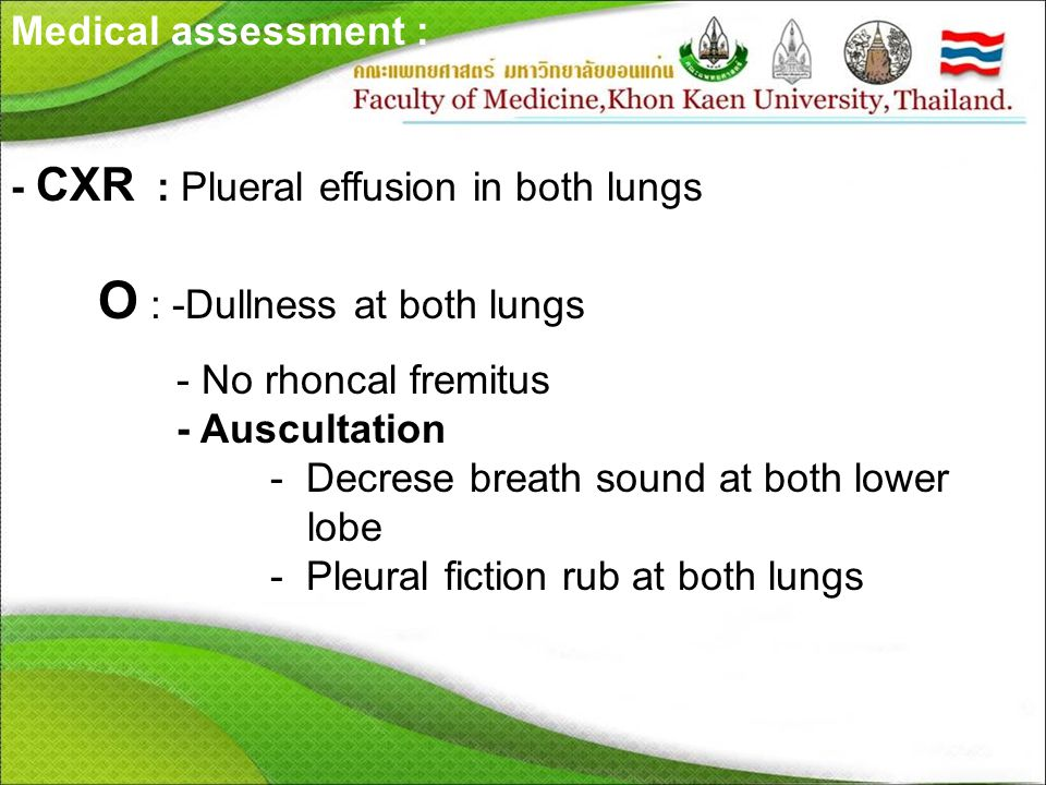 O : -Dullness at both lungs