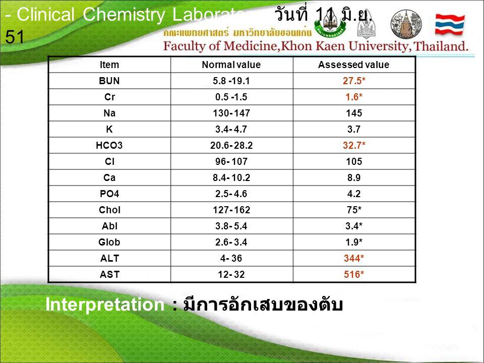 - Clinical Chemistry Laboratory วันที่ 11 มิ.ย. 51