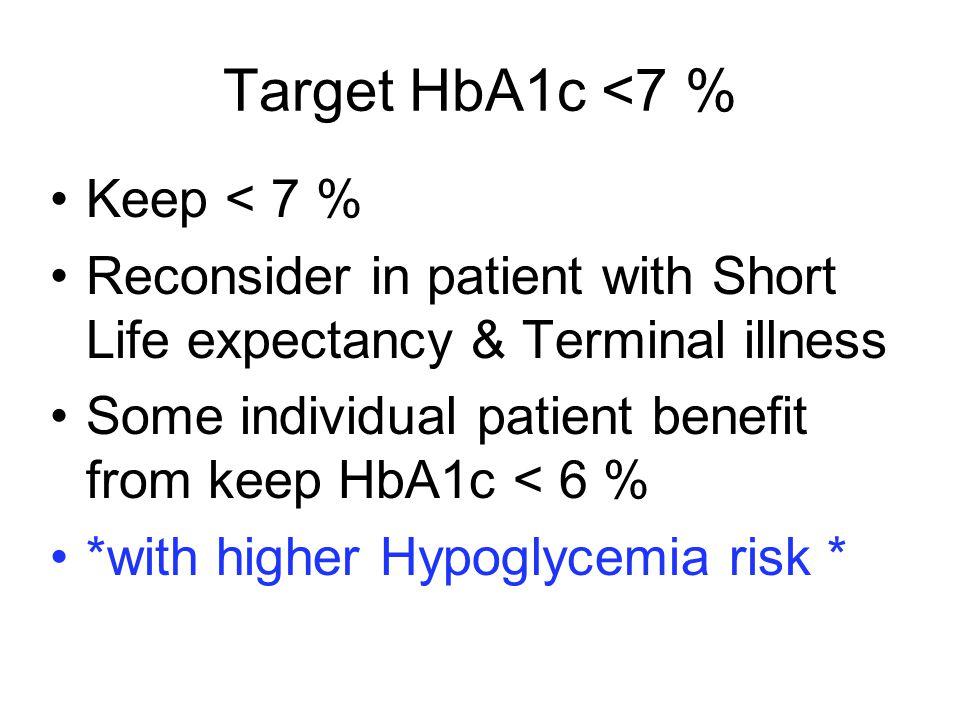 Target HbA1c <7 % Keep < 7 %