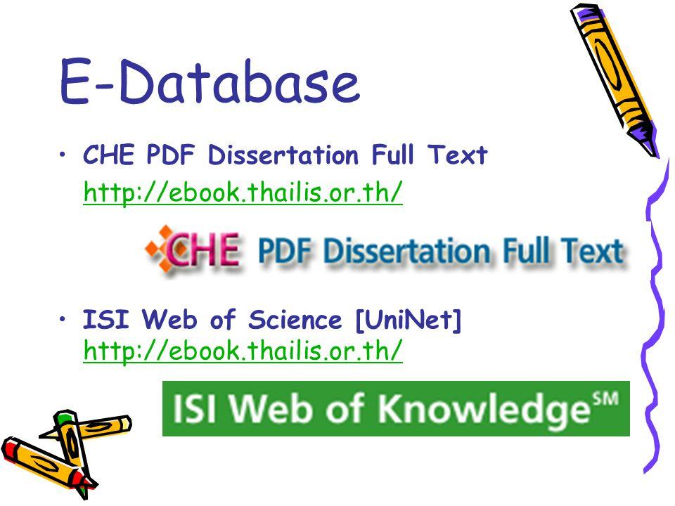 E-Database CHE PDF Dissertation Full Text http://ebook.thailis.or.th/